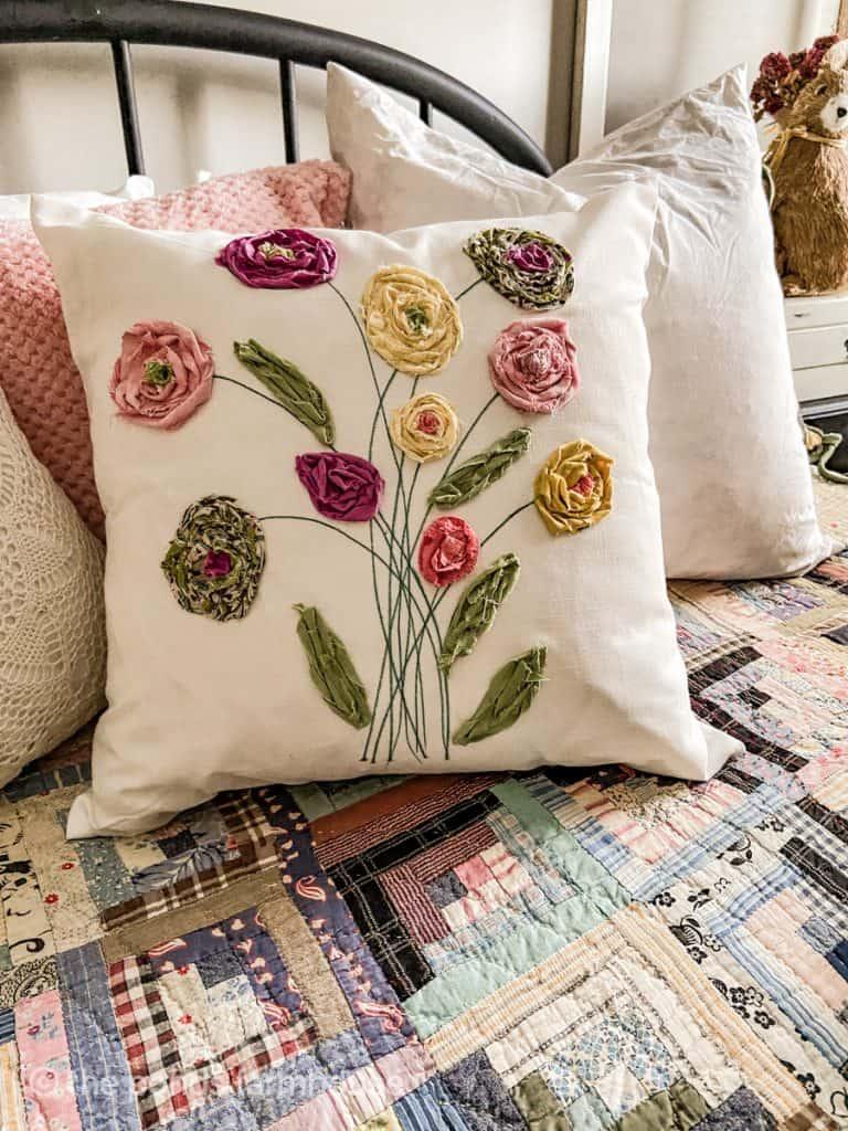Spring DIY Scrap Fabric Pillow cover