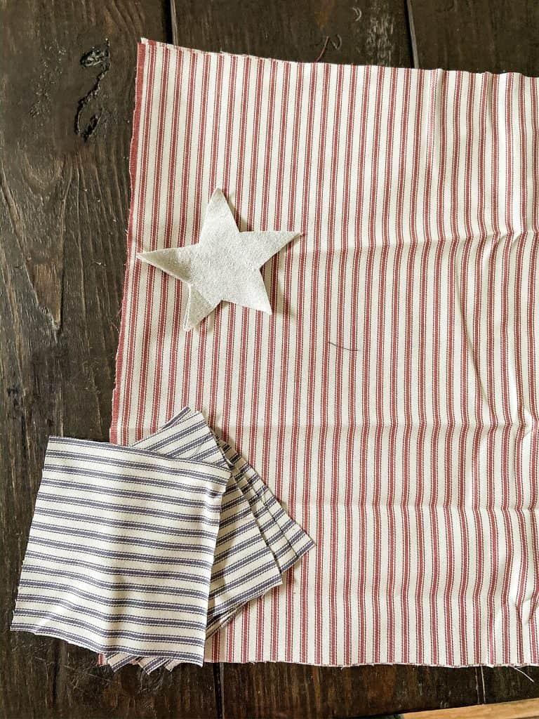 Using scrape fabric make your own  handmade DIY Ticking Patriotic Napkins