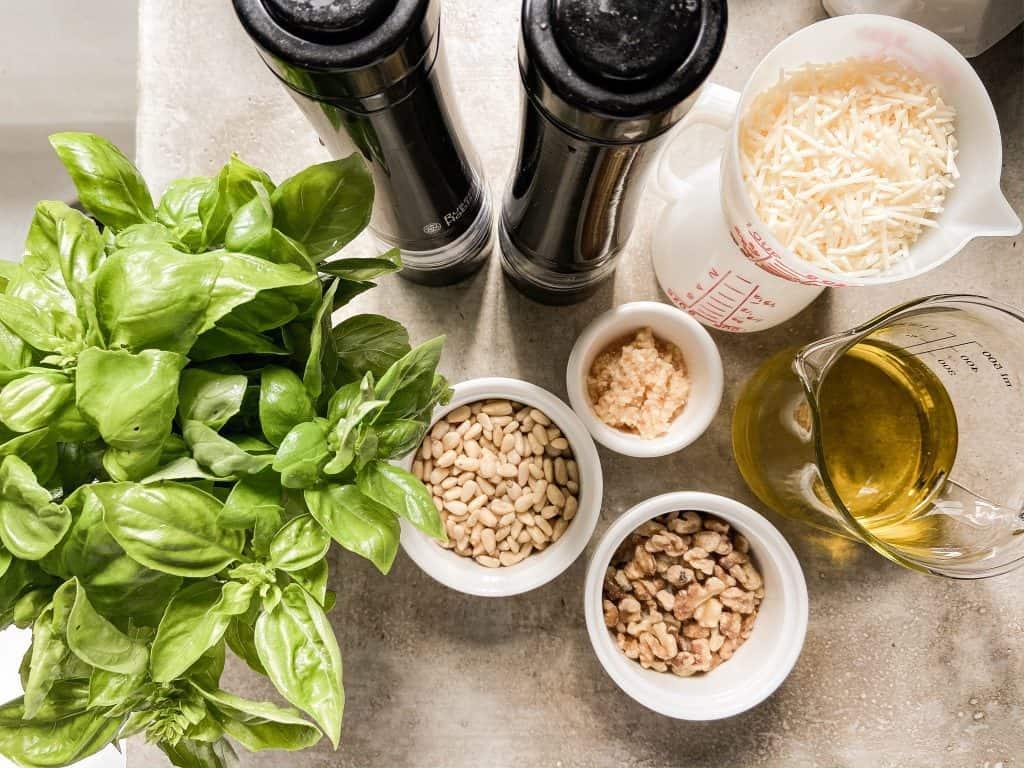 Ingredients to make Tasty Basil Pesto Recipe. #basilpesto