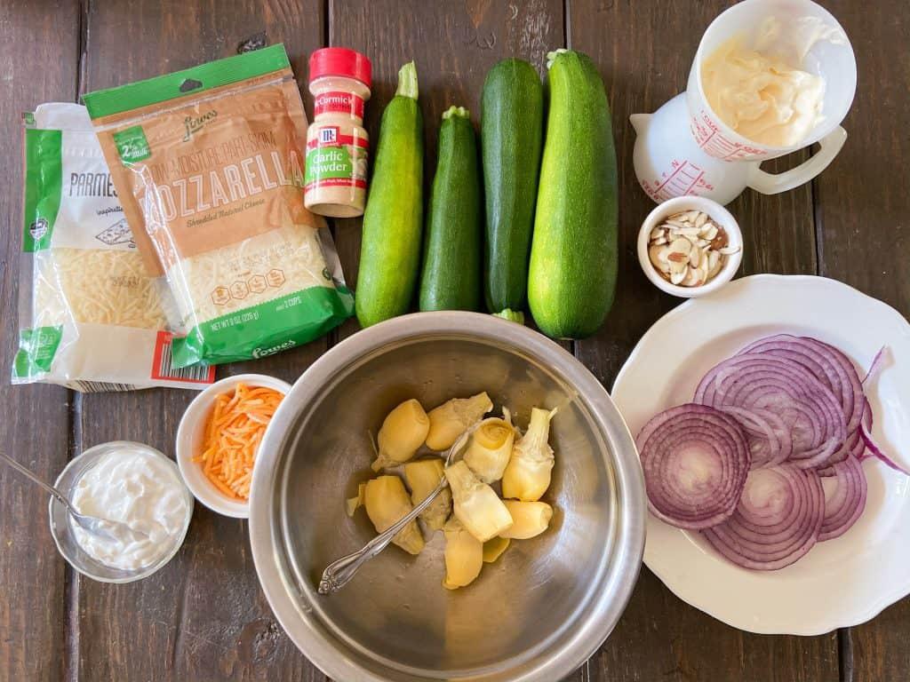 Ingredients for Zucchini Artichoke Lasagna