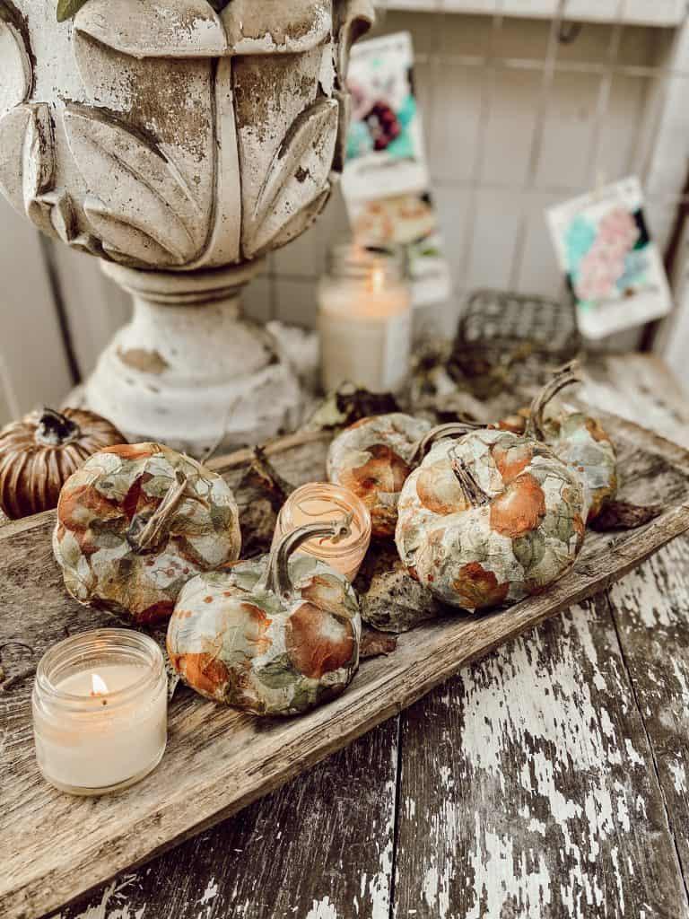 How To Napkin Decoupage Pumpkins The Ponds Farmhouse
